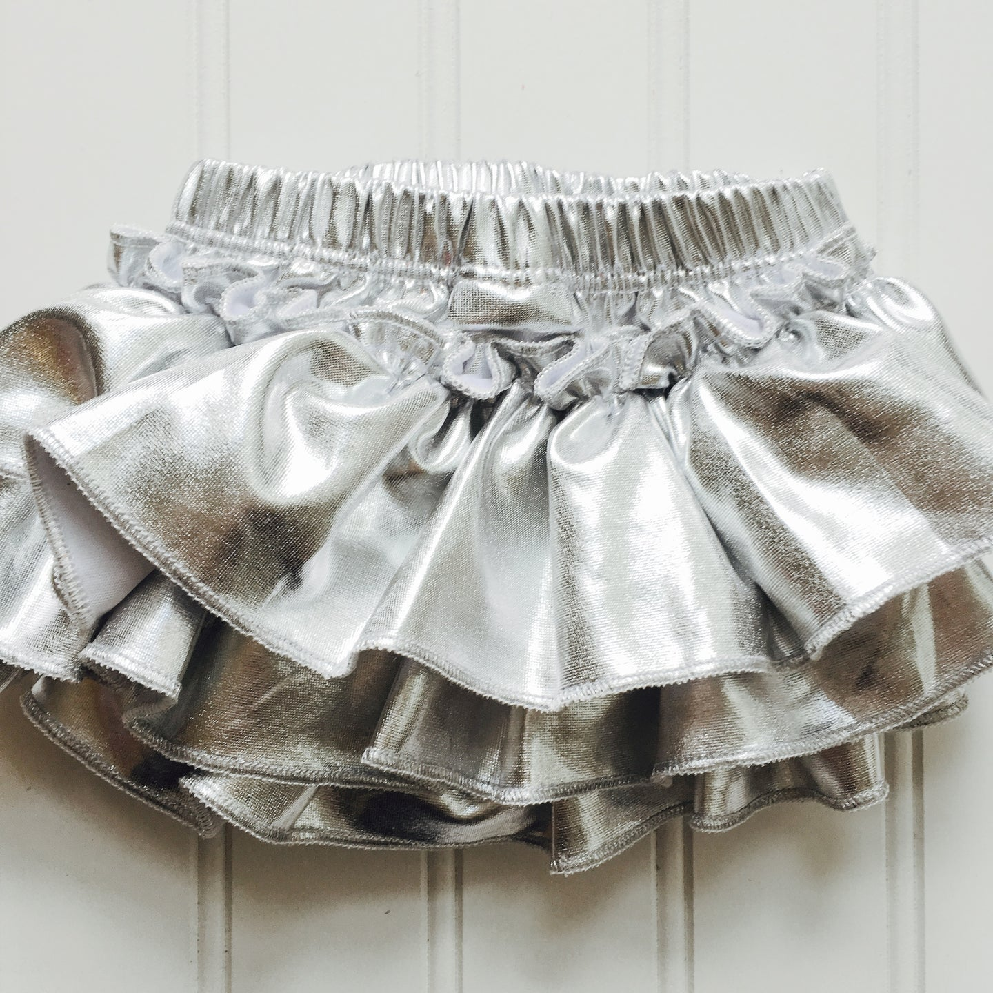 Silver Metallic Full Front and Back Ruffled Baby Bloomer