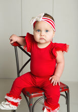 Load image into Gallery viewer, Toddler Holiday Outfit Butterfly Sleeve Leo & Ruffle Pants