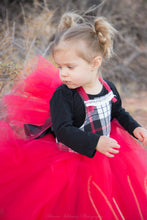 Load image into Gallery viewer, Red Black White Holiday Flannel Tutu Dress