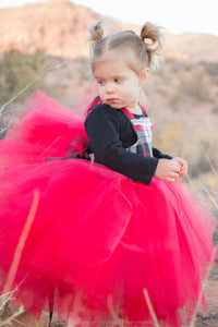 Red Black White Holiday Flannel Tutu Dress