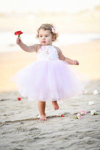 Pink Tulle  and White Rose Tutu Dress