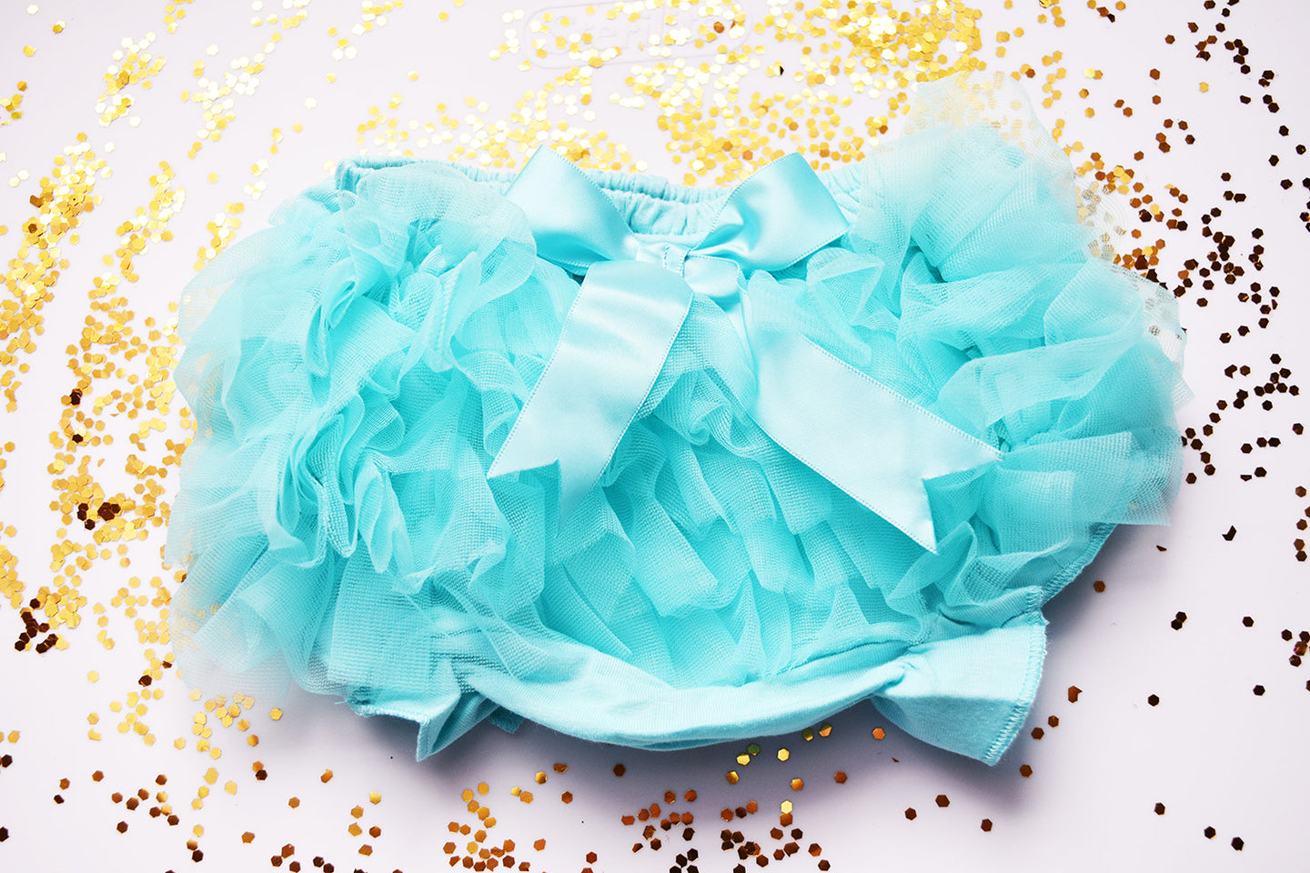 Aqua Blue Baby Bloomer a Sheer Back Ruffled Bloomer