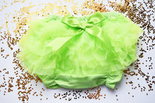 Load image into Gallery viewer, Lime Green Baby Bloomer a Sheer Back Ruffled Bloomer