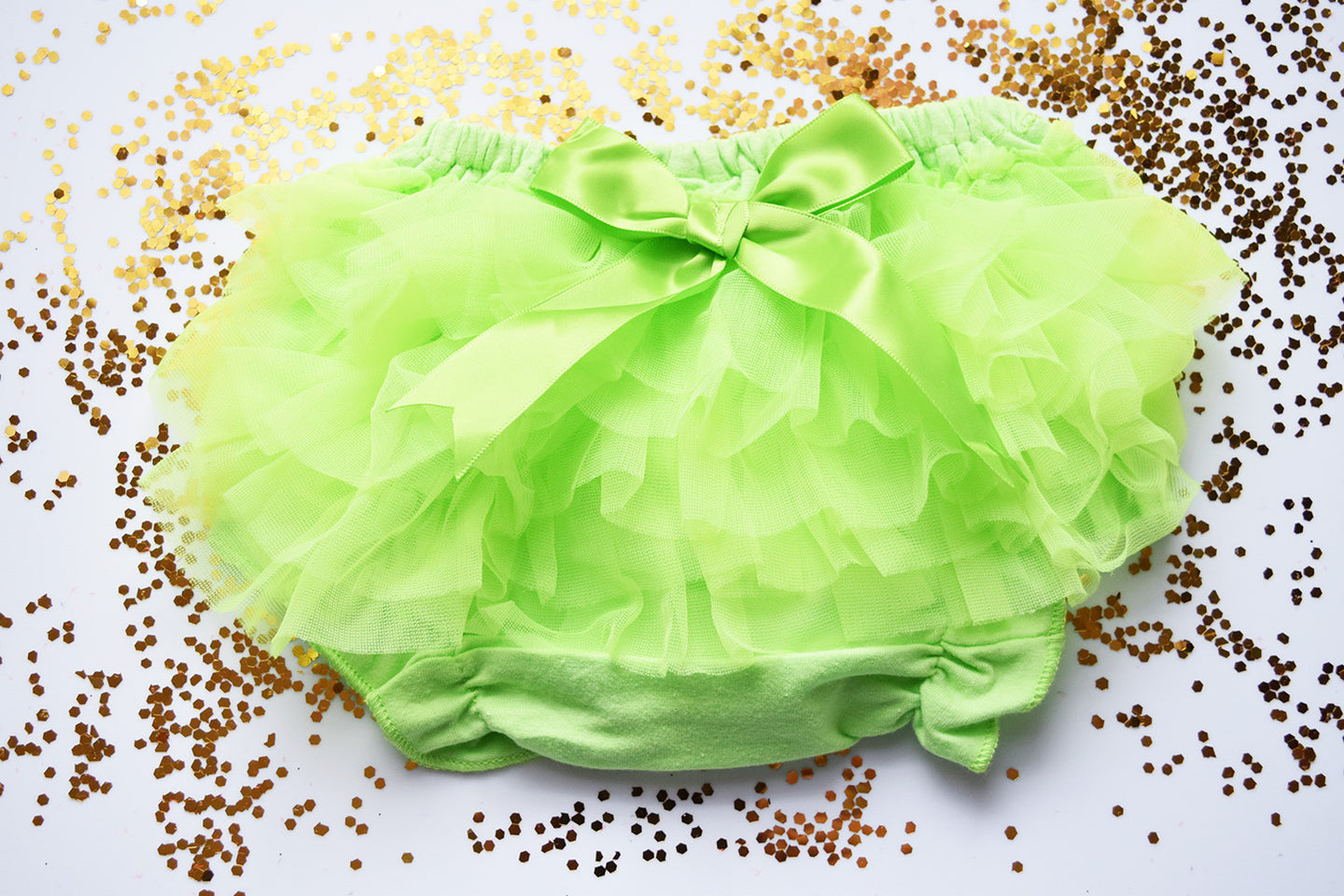 Lime Green Baby Bloomer a Sheer Back Ruffled Bloomer