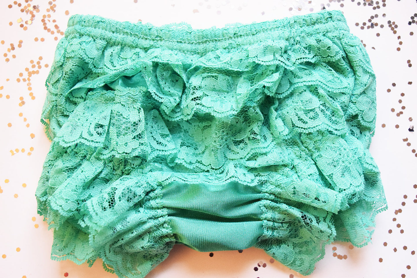 Soft Green Lace Full Front and Back Ruffled Baby Bloomer