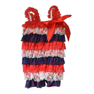 Patriotic Red, white and blue 4th of July Lace Ruffle Romper