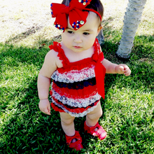 Load image into Gallery viewer, Patriotic Red, white and blue 4th of July Lace Ruffle Romper