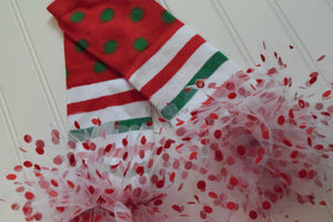 Green and Red Stripe and Dot Christmas Leg Warmers, Baby, Toddler & Kids