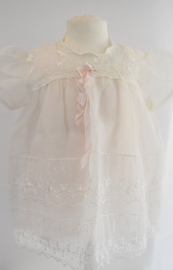 Antique Vintage White Baby Dress with Light Pink Slip
