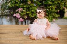 Load image into Gallery viewer, Baby First Birthday or Flower girl dress. Blush Pink dress with Ivory Accented Lace Ruffles and Neck Ties!