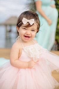 Baby First Birthday or Flower girl dress. Blush Pink dress with Ivory Accented Lace Ruffles and Neck Ties!