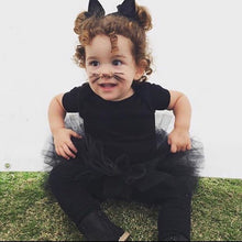 Load image into Gallery viewer, Costume Baby Toddler Black Tutu perfect Halloween Costume Tutu for Baby or Toddler. High Quality Sewn Tutu Ribbon Tie Back Free shipping