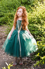 Load image into Gallery viewer, Meredith inspired costume dress for baby and toddler. Deep green with gold trim.