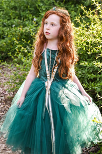 Meredith inspired costume dress for baby and toddler. Deep green with gold trim.
