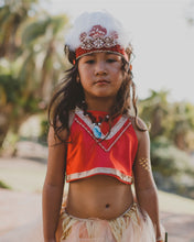 Load image into Gallery viewer, Moana inspired costume set for baby and toddler. Red too with Grass Hawaiian Skirt.