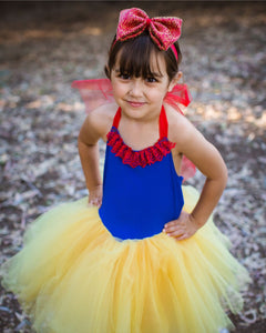 Snow White inspired tutu costume dress! Gorgeous blue top with red lace trim with res dress skirt! Baby toddler costumes!