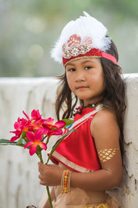 Moana inspired costume set for baby and toddler. Red too with Grass Hawaiian Skirt.