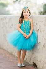 Load image into Gallery viewer, Jasmine inspired tutu costume dress! Gorgeous blue and gold trim! Baby toddler costumes!