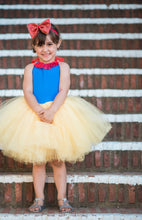 Load image into Gallery viewer, Snow White inspired tutu costume dress! Gorgeous blue top with red lace trim with res dress skirt! Baby toddler costumes!