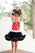 Load image into Gallery viewer, Minnie Mouse inspired tutu costume dress! Red or Pink - Polka dot top with black tulle with polka dot trim dress skirt! Baby toddler costume
