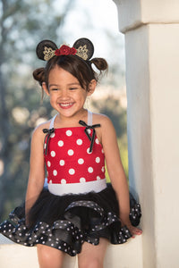 Minnie Mouse inspired tutu costume dress! Red or Pink - Polka dot top with black tulle with polka dot trim dress skirt! Baby toddler costume