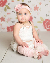 Load image into Gallery viewer, Pink & White 3 piece Photo Set Baby Girl Onesie, Bloomer & Custom Ruffled Leg Warmer Set