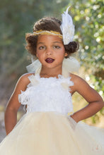 Load image into Gallery viewer, Cream Gold and White Feather Top Tutu Dress