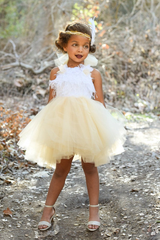Cream Gold and White Feather Top Tutu Dress