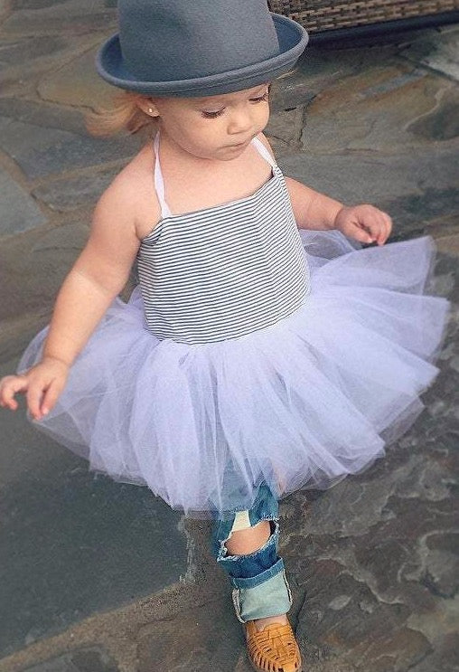 Ticking Hip Ballerina Dress in blue and White!  Baby toddler costumes!