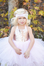Load image into Gallery viewer, Light Pink Rose Gold Sequin Top Tutu Dress- Flower Girl, Birthday Girl any special occasion.