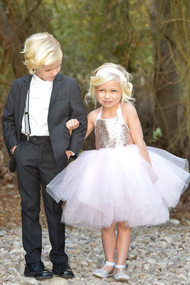 Light Pink Rose Gold Sequin Top Tutu Dress- Flower Girl, Birthday Girl any special occasion.