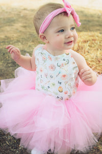 Little Pink Country Girl Tutu Dress - Western Baby Girl, Antlers & Flowers, Farm Girl Tutu Dress. Rustic Tutu Dress