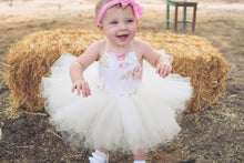 Load image into Gallery viewer, Ivory and White Rose Tutu Dress