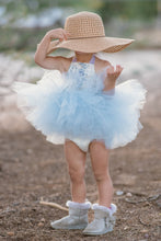 Load image into Gallery viewer, Blue and White Victorian Rose & Lace Tutu Dress
