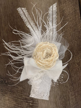 Load image into Gallery viewer, Large White and Ivory Flower Headband with Lace and Feather accent