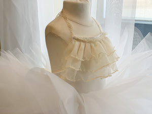 Baby Flower girl dress or Birthday Dress. White or Blush Pink dress with Ivory Accented Lace Ruffles and Neck Ties!