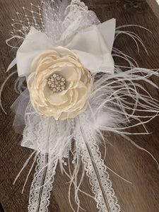 Large White and Ivory Flower Headband with Lace and Feather accent
