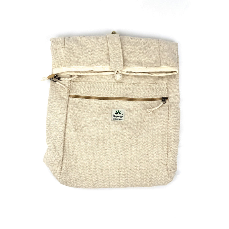 Hemp rolltop backpack, natural - Hempalaya