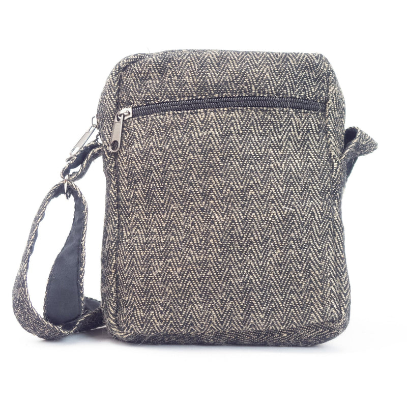 Hemp shoulder bag, crossbody bag, black - Hempalaya