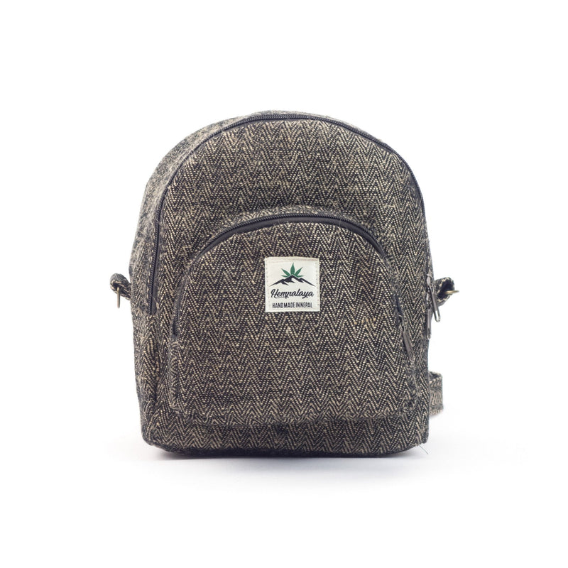 Hemp 2 in 1 mini backpack, black - Hempalaya