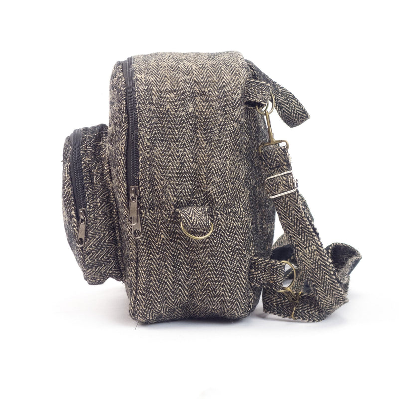 Hemp mini backpack 2 in 1, shoulder bag and backpack in one, mini backpack, black, eco friendly, sustainable, vegan - Backpack - Hempalaya