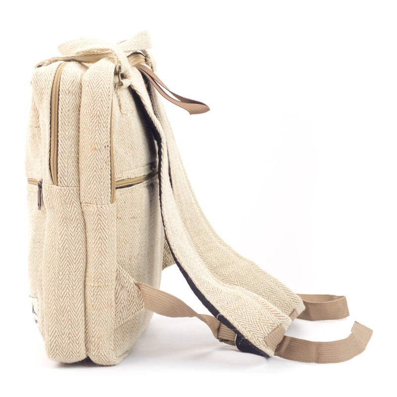Hemp tote backpack, natural - Hempalaya