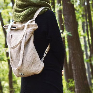 Hemp 2 in 1, multipurpose bag and backpack, natural - Hempalaya