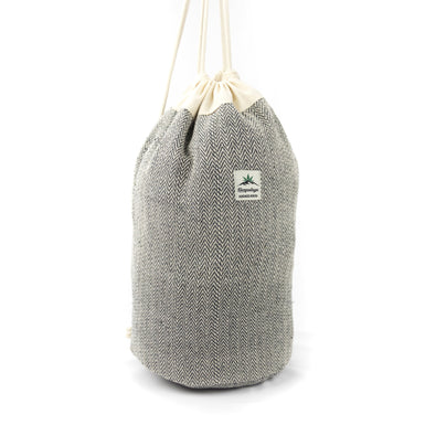 Hemp round bottom duffle bag, black - Hempalaya