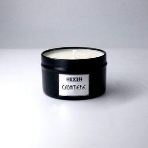 HEXEH Black travel tin Cashmere candle. Natural soy and coconut wax. Clean burning.
