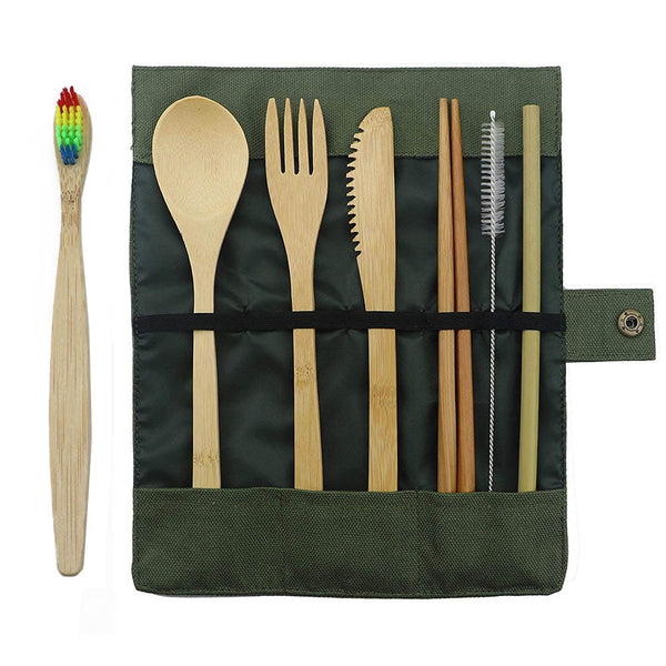 7-Piece Bamboo Travel Cutlery Set