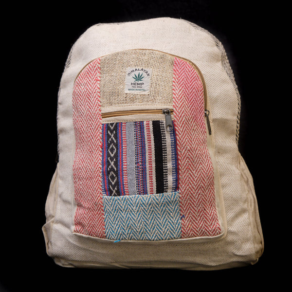 Pouchful Hemp & Cotton 17 inch Backpack (Multicoloured)