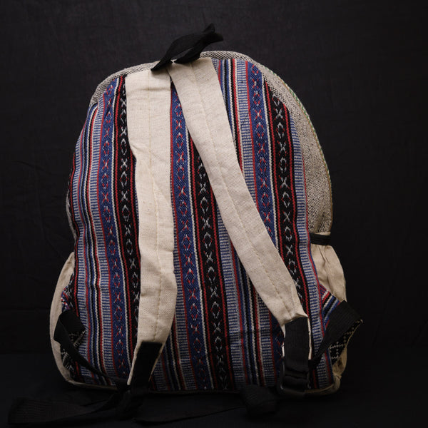 Pouchful Hemp & Cotton 17 inch Backpack (Multi Patch)