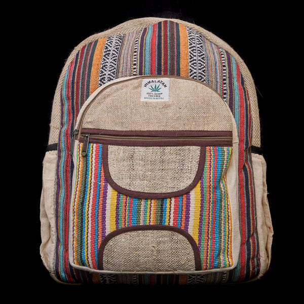 Pouchful Hemp & Cotton 18 inch Backpack (Multicoloured)
