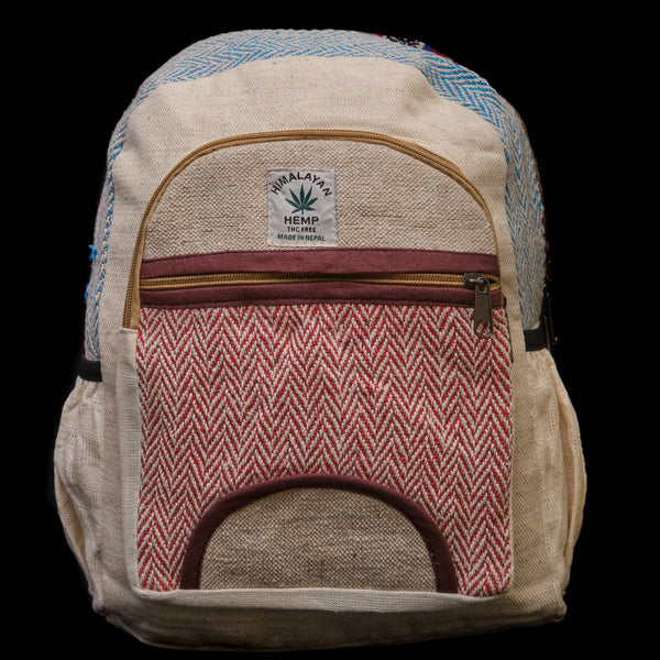 Pouchful Hemp & Cotton 14 inch Backpack (Multicoloured)